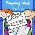 Morning Work: Pre-K, Kindergarten or First Grade FREEBIE