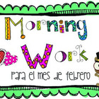 Morning Work para el mes de febrero (SPANISH VERSION)
