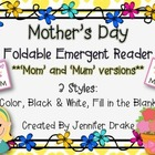 Mother's Day Foldable Emergent Reader ~3 Versions: Color,