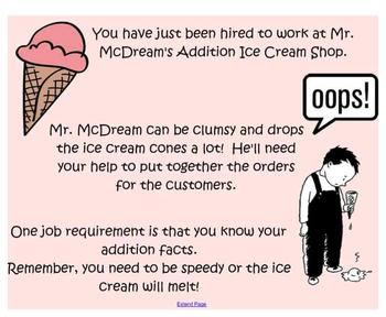 Mr. McDream's Addition Ice Cream - Addition Facts