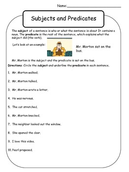 Mr. Morton Subject and Predicate Worksheet