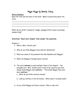 Muggie Maggie (by Beverly Cleary) Comprehension Questions/Answers