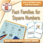 Multi-Match Cards: Fact Families for Square Numbers (Grade 3)