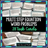Multi Step Equation Word Problems: 28 Task Cards *With & W