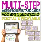 Multi-Step Word Problems Task Cards { Addition & Subtracti