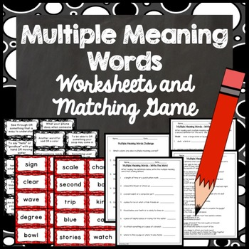 Multiple Meaning Words Matching Game (30 Matches)