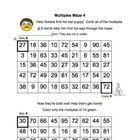 Multiples Maze - Set of FUN practice math puzzles - 3's -