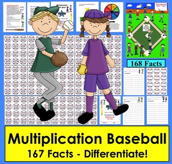 Multiplication Baseball Activities Math Centers- 4 Ways to