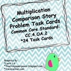 Multiplication Comparison Story Problem Task Cards 4.OA.2