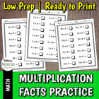 Multiplication Facts Practice for Elementary Mathematics