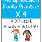 Multiplication Facts X9 Practice Activities