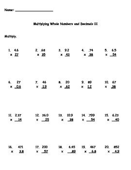 Multiplying Decimal Numbers Worksheet - Theintelligenceband
