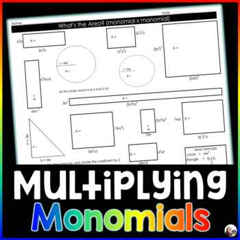 Finding Areas with Monomials Activity {exponent rules practice}