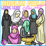 Muslim girls in hijabs and abayas clip art - color and black line