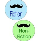 Mustache Book Bin Labels