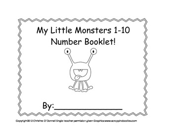 My Little Monsters 1-10 booklet: # word, tally, color word +more