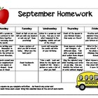 My September Homework Calendar