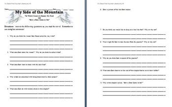 My Side of the Mountain - Study Questions (Chapters 9 and 10)