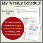 My Weekly Schedule--A Microsoft Word Activity for Grades 6-8