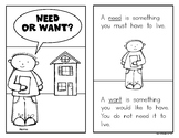 NEEDS and WANTS Emergent Reader Book - Great for Sight Words