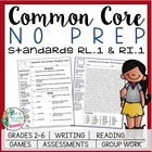 NO PREP Common Core Reading Packet: Standards RL.1 & RI.1