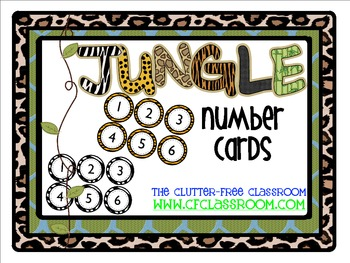 NUMBER CARDS / CALENDAR for a JUNGLE ~ SAFARI CLASSROOM THEME