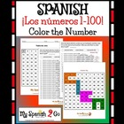 NUMBERS:  Spanish 1-100 Worksheet with Hundreds Chart-Fun!