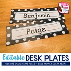 Polka Dot Desk Plates