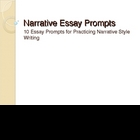Narrative Essay Prompts