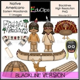 Native Americans-Eastern Woodlands Clip Art BLACKLINES