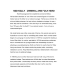 Ned Kelly Criminal and Folk Hero - Reading Comrehension