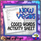 New Year Coded Words Activity Sheet - Webdings