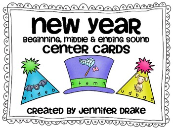 New Years Beginning, Middle & Ending Sounds Center Cards!