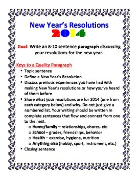 New Year S Resolution Essay Assignment