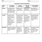 Newspaper Article Writing Rubric