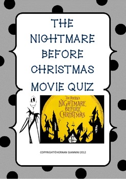 Nightmare Before Christmas Movie Quiz (42 Questions- key included)