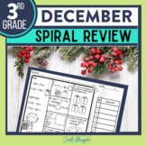 No Prep DECEMBER MATH Spiral Review for 3RD GRADE