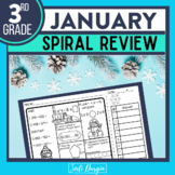 No Prep JANUARY MATH Spiral Review for 3RD GRADE