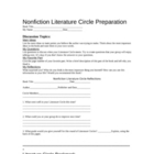 Non Fiction Lit Circle Work for MS or HS Students