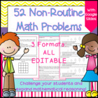 Non-routine Math Problem Solving Task Cards- Critical Thin