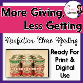Nonfiction Close Reading - The Holidays: A Bit More Giving, A Bit Less Getting