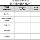 Nonfiction Text Features Scavenger Hunt Activity