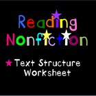 Nonfiction Text Structure Worksheet - Station 2