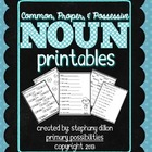 Noun Printables {Homework, Seat Work, and More!}
