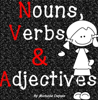 Nouns Verbs and Adjectives  (posters, worksheets and revie
