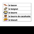 Nourriture (Food in French) word wall