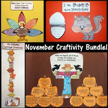 November Craftivity BUNDLE (Main Idea, Fact & Opinion, Syn