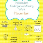 November Kindergarten Morning Work