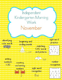 November Kindergarten Morning Work, Daily Math and Literac
