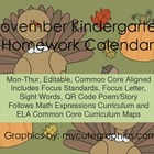 November Mon.-Thur. Common Core Kindergarten 4 Week Homewo